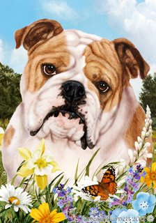 Bulldog Dog - Tamara Burnett Summer Flowers Outdoor Garden Flag 12'' x 17''
