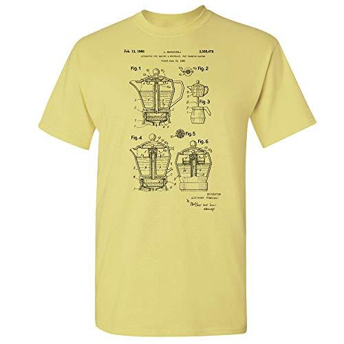Coffee Moka Pot T-Shirt, Barista Shirt, Coffee Shop, Restaurant, Cafe Owner, Espresso Lover, Coffee Brewer, Kitchen Gift Cornsilk (Medium)