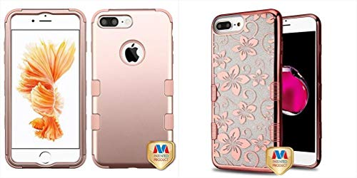 Combo pack Rose Gold/Rose Gold TUFF Hybrid Phone Protector Cover [Military-Grade Certified] for APPLE iPhone 8 Plus/7 Plus And Electroplating Rose Gold Hibiscus Flower (Transparent Clear) Full Glitter