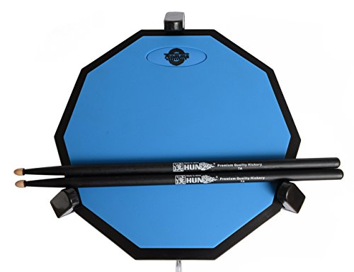 Tromme Drum Practice Pad & Carrying Case - 12 Inches - Two-Sided Silicone - Wooden Base with Real Drum Feel - Practice Quietly -Sticks and Stand NOT INCLUDED (Blue)