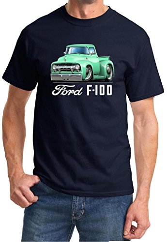 1954 Ford F100 F-100 Pickup Truck Full Color Design Tshirt XL Navy Blue ()