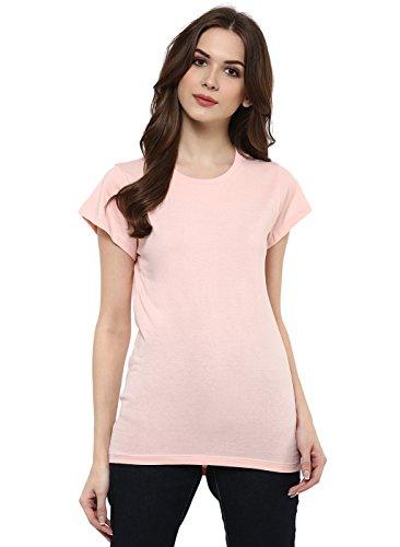 Cenizas Women Peach Solid Round Neck T Shirt