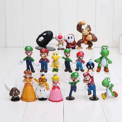 Maggift 18 Pcs PVC Super Mario Brothers Figures Set Children's Toy (Aquarium Decorations Nintendo)