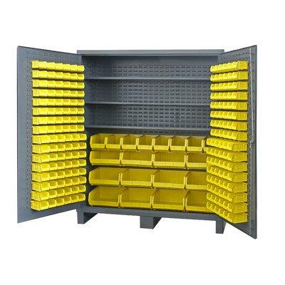 (Durham 14 Gauge Steel Cabinet with 212 Hook-On-Bins, SSC-722484-BDLP-212-3S-95,  24