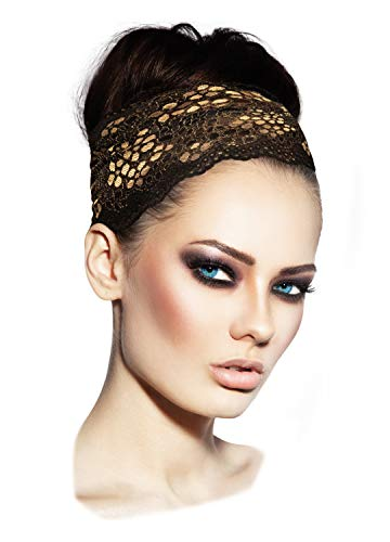 - ShariRose Stunning Stretch Wide Floral Lace Headbands in Many Beautiful Colors Handmade (Black Gold Bronze)