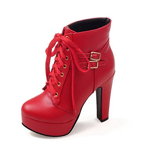 Closed Boots AgooLar Solid Toe Material High Low Soft Women's Heels Top Red Round ZPfqPIp
