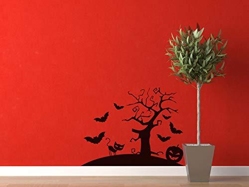 Scary Tree Halloween Scene Cut Vinyl Decal - 20.5