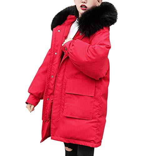 Sannysis Cotton-Padded Parka, Women Hooded Solid Feather Outwear Warm Thick Fur Cotton Parka Slim Jacket Coat