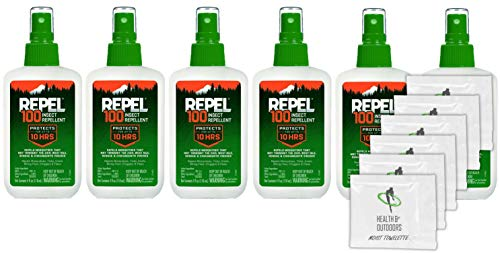(Repel 100 Insect Repellent 4-Ounce Pump Spray (6 Pack W/ 6 HAO Wipes))