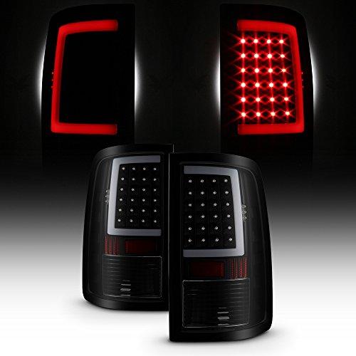 (For 2013-18 Dodge Ram Full LED Daytime Running Lamp Strip Tail Lights Black Housing Smoked Lens Set)