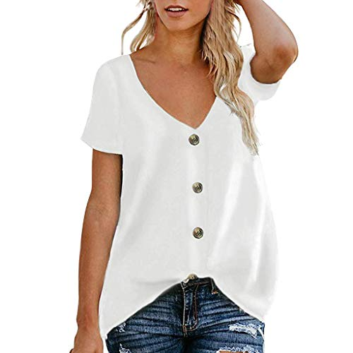 HIRIRI Women's Button Down V Neck Blouses Strappy Tank Tops Summer Loose Casual Short Sleeve Shirts White