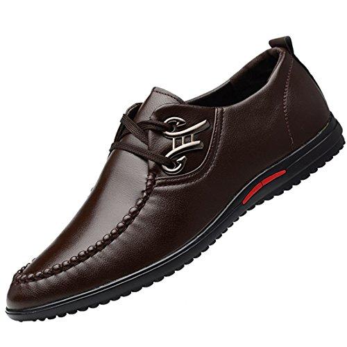qianchuangyuan Chaussures de Ville Pour Hommes Neuves Cuir PU à Lacets Bout D'Affaires Oxfords Chaussures Marron GmefvFl
