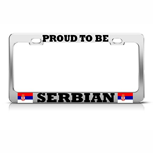 SERBIA SERBIAN FLAG BLACK License Plate Frame Tag Holder