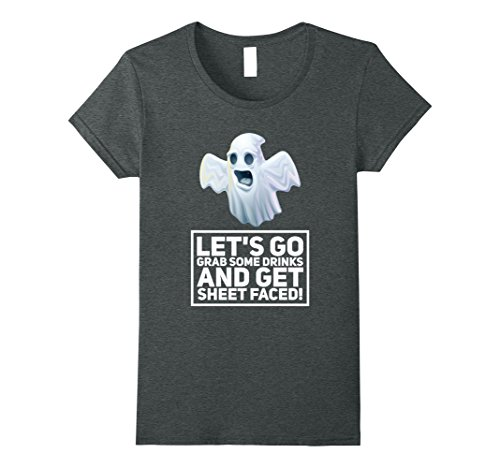 [Womens Funny Ghost Drinking Halloween T Shirt - Sheet Faced T Shirt Small Dark Heather] (Frat Brothers Costume)