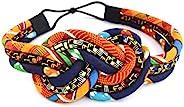Orange Kente Knotted Headband – African Headband | kente print headband | Kente cloth headband | Orange and Bl