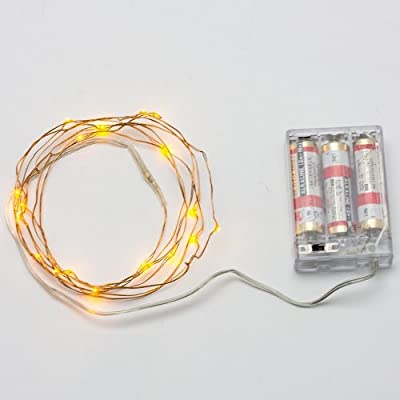 AVAWO LED Christmas Lights String - Yellow 7ft 20leds LED Lights Fairy lights Ultra Thin String Copper Wire LED Light Strings AA Battery Powered For Christmas Wedding and Party, indoors