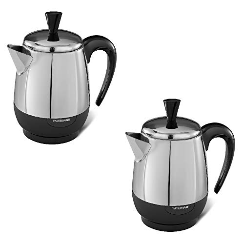 Model No. FCP240 2-4 Cups Electric Coffee Percolator, Robust Aroma and Full Flavor, Detachable Cord and Automatic Keep Warm, Stainless Steel (Pack of 2)