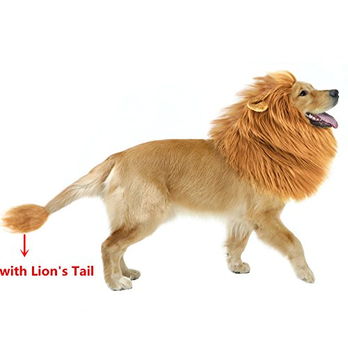 GABOSS Lion Mane Costume for Dog, Dog Lion Wig for Dog Large Pet Halloween Festival Party Fancy Hair Dog Clothes(Brown with Ear and (Large Dog Halloween Costumes)