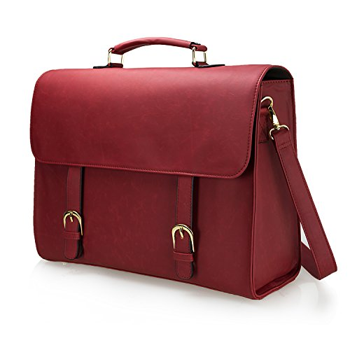 Estarer Women Briefcase 15.6 inch Laptop Bag PU Leather Backpack Satchel Shoulder Bag – Wind Red
