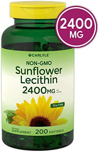 Sunflower Lecithin 2400mg 200 Softgels | Rich in Phosphatidyl Choline | Non-GMO, Soy Free, Gluten Free Supplement by Carlyle