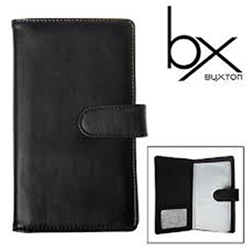 96 Business Card File - Buxton Business Card File - 96 Card Slots - Buttersoft Leather (Black)