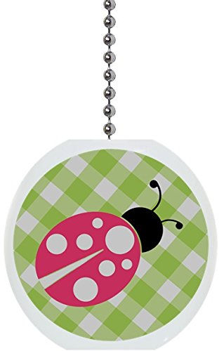 Ceramic Fan Pull (Pink Ladybug Green Gingham Solid Ceramic Fan Pull)