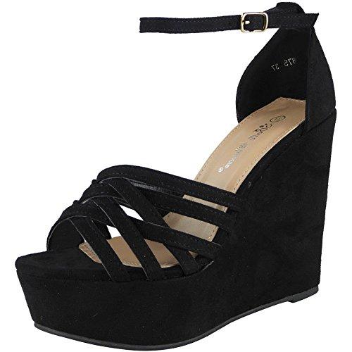 Sizes Black Wedding 8 Sandals Look Platform Wedge Loud Ladies Peeptoe Womens Party Shoes Heel 3 High w7Zq68