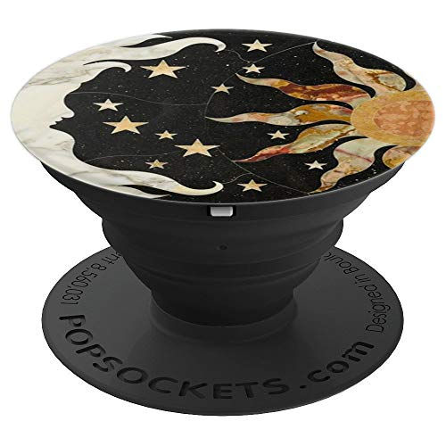 Black Vintage Moon Sun and Stars & Design - PopSockets Grip and Stand for Phones and Tablets