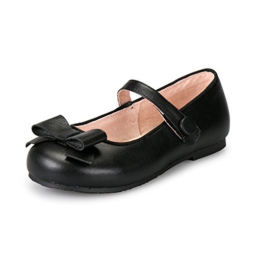 AjayR Kids Girls Bowknot Genuine Leather Soft Dressy Mary Jane Flats Pumps,Black,9 M US Toddler/6.73 (Dressy Toddler Shoes)