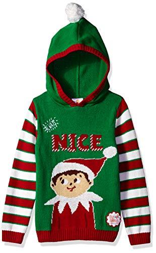 Elf on The Shelf Little Girls Always Nice Xmas Sweater, Jolly Green, 6