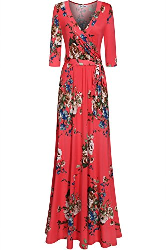 - Bon Rosy Women's Silky and Stretchy 3/4 Sleeve Deep V-Neck Peony Printed Maxi Faux Wrap Dress Coral M