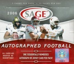 Sage Autograph Football Hobby Box (2006 Sage Autograph Football Cards Unopened Hobby box - Reggie Bush Rookie Year)