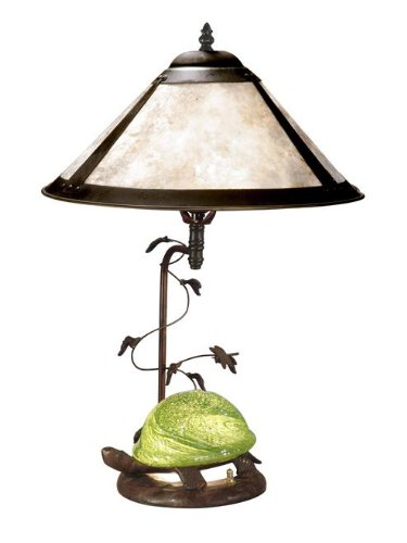 Table Lamp Mica Antique - Dale Tiffany TT10840 Mica Green Turtle Table Lamp, Antique Bronze