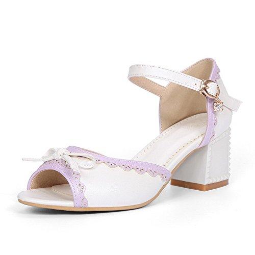 VogueZone009 Mujeres Tacón ancho Colores Surtidos Hebilla Sandalias de vestir con Encaje Blanco