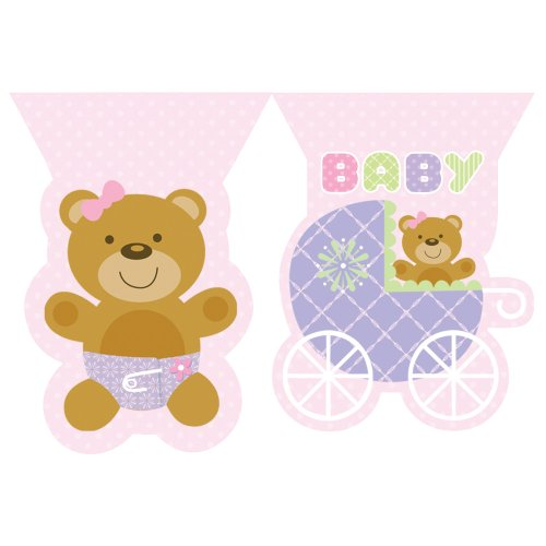 Creative Converting Baby Shower Teddy Baby Pink Flag Banner