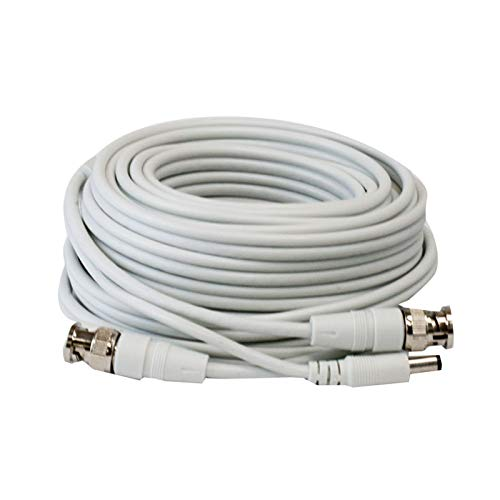 Lknewtrend 25ft RG59 Siamese Combo 20AWG Power Video Coaxial Cable BNC 75Ohm 95% Braid Wire Cord for HD-SDI, AHD, TVI, CVI All CCTV Security Cameras with BNC Connector and 2.1mm Power Jack (White)