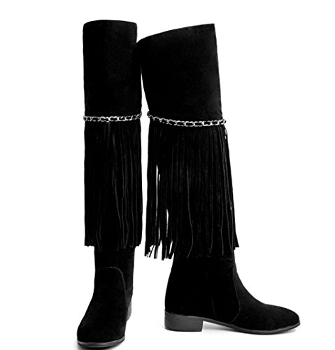 Large Heels Knight Party Size Shoes Boots Fashion Kitzen High Women Ladies Black Over Thigh Tassel High Wedding Knee Black Boots Boots 7qg7a0