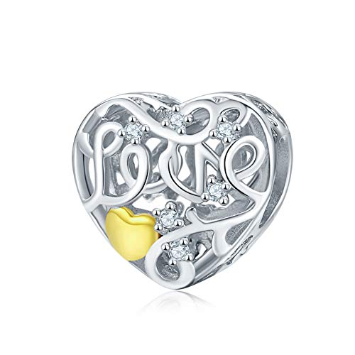 BAMOER 925 Sterling Silver Gold Heart One Love Charm Beds for Women Charm Bracelet Necklace Jewelry Making