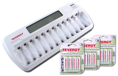 Combo: TN160 12-Bay AA/AAA NiMH/NiCD LCD Charger + 3 Cards: Centura AA (LSD) NiMH Rechargeable Batteries