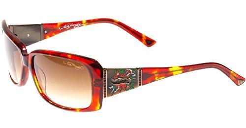 Ed Hardy Heart & Dagger Sunglasses Tortoise Brown Gradient 58 15 135