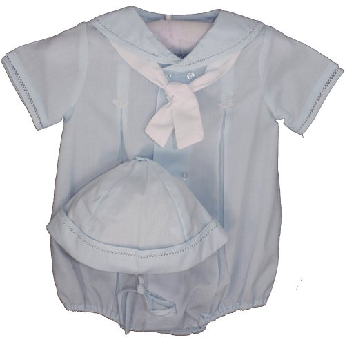 Petit Ami Infant Boys Blue Sailor Bubble Suit Outfit & Hat Set (Sailor Suit Bubble)