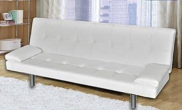 Divano letto moderno 3 posti ecopelle reclinabile bianco soggiorno ...
