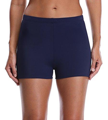 belamo Active Swimwear Shorts Womens Boardshort Tankini Bottom Solid Navy (Navy Blue Water)