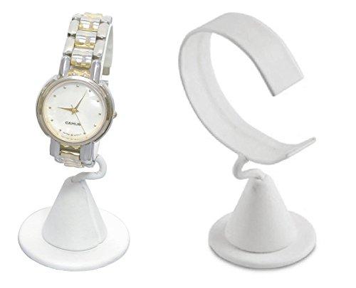 (2-Pack White Leatherette Wrist Watch Bracelet Jewelry Showcase Display Stretchie Bangle Bracelet Display Stand)