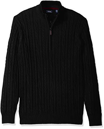 IZOD Men's Premium Essentials Solid Quarter Zip 7 Gauge Cable Knit Sweater, Black, Medium