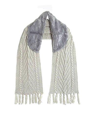 in sintetica Chunky collo con Grey Knit Accessoryo Scarf pelliccia nHPzY7q