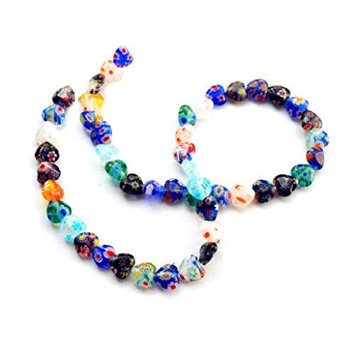 - 48Pcs/String Handmade 8mm Shining Heart Shape Millefiori Glass Craft Beads Multi-Color Flower Patterns Long Necklace Bracelet DIY Jewelry Accessories