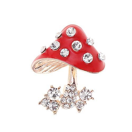 SKZKK Handmade Painted Coating Mushroom Enamel Lapel Pin Crystal Plant Brooch Pins for Women,Gifts for Women Cute Pins for Jackets Collar Pins Red
