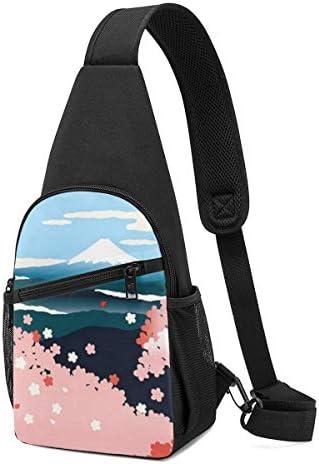 ボディ肩掛け 斜め掛け 春の桜と富士山 ショルダーバッグ ワンショルダーバッグ メンズ 軽量 大容量 多機能レジャーバックパック