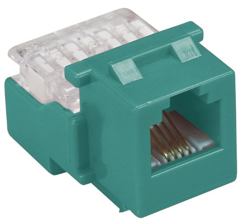 Allen Tel AT26-05 Category 3 Compact Jack Module, Green, 1 Port, EIA/TIA 568A/B Wiring, 110 Termination, 6 Conductor
